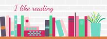 Illustration Of Bookshelves With Retro Style Books