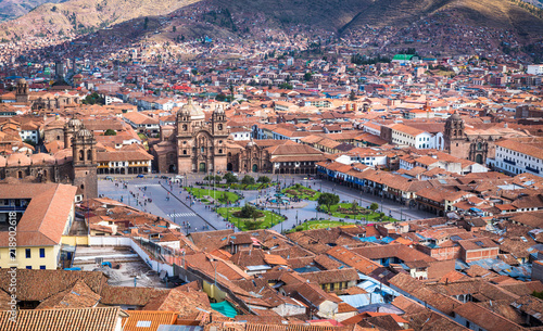 Tuinposter Zuid-Amerika land Panoramic view of Cusco historic center, Peru