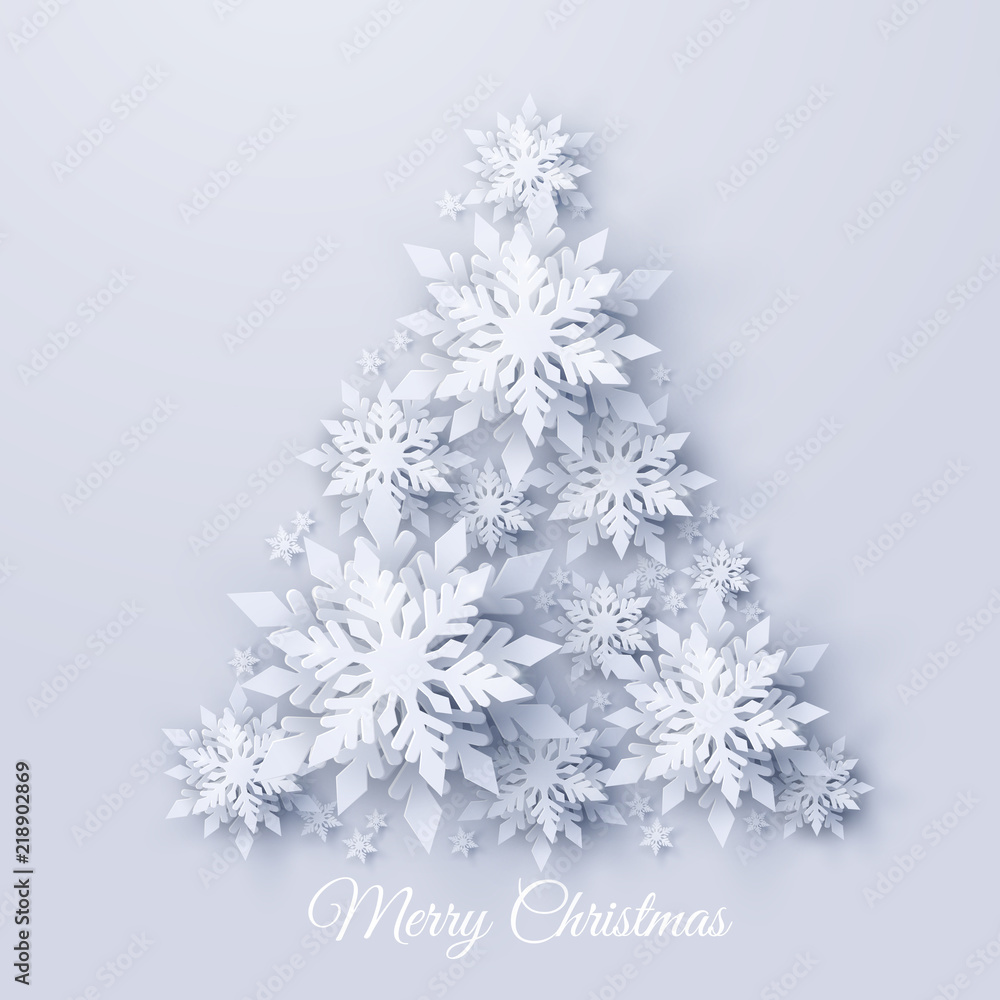 Fototapeta Vector Christmas and new year holidays background with Christmas tree made of realistic looking paper cut snowflakes. Seasonal Merry Christmas and Happy New Year greeting card