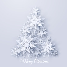Vector Christmas And New Year Holidays Background With Christmas Tree Made Of Realistic Looking Paper Cut Snowflakes. Seasonal Merry Christmas And Happy New Year Greeting Card