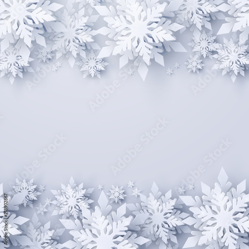 Fotografía  Vector Christmas and new year holidays background with realistic looking paper craft snowflakes