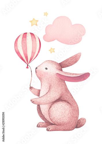 Akwareli ilustracja śliczny królik. Idealny do kart okolicznościowych