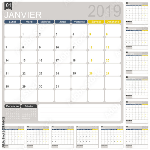 French Calendar 2019 French Calendar Template For Year 2019 Set