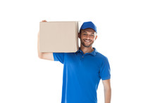 Smiling Young Courier Holding Parcel Box