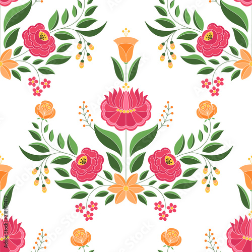 Foto auf AluDibond Boho-Stil Hungarian folk pattern vector seamless. Kalocsa floral ethnic ornament. Slavic eastern european print. Traditional embroidery flower design for birthday wrapping paper, bedroom textile, wedding gifts.