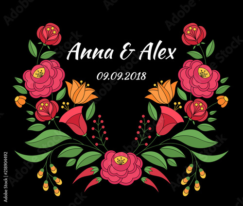 Autumn Wedding Save The Date Card Template Vector Hungarian