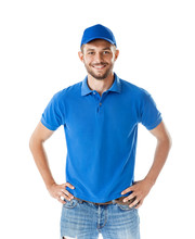 Portrait Of Confident Handsome Man In Blue Uniform Isolated