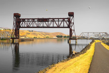 Old Lift Bridge Over Clearwater River In Lewiston Idaho