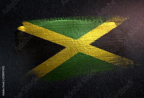 Jamaica Flag Made of Metallic Brush Paint on Grunge Dark Wall Canvas Print