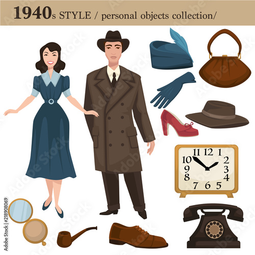 1940 fashion style man and woman personal objects Canvas Print