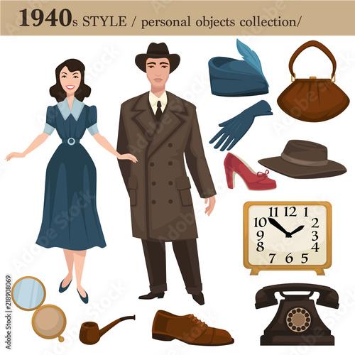 Fotografia  1940 fashion style man and woman personal objects