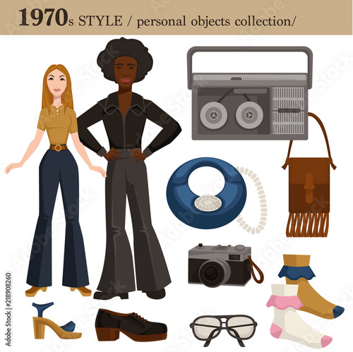 1970 fashion style man and woman personal objects Wallpaper Mural
