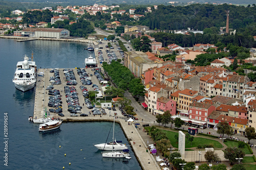 Aerial view of the harbor Roviny Istria Canvas Print
