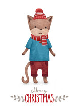 A Watercolor Illustration Of The Cat. Perfect For Christmas Greeting Cards