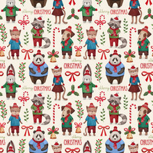 Watercolor Illustrations Of Cute Animals. Christmas Pattern