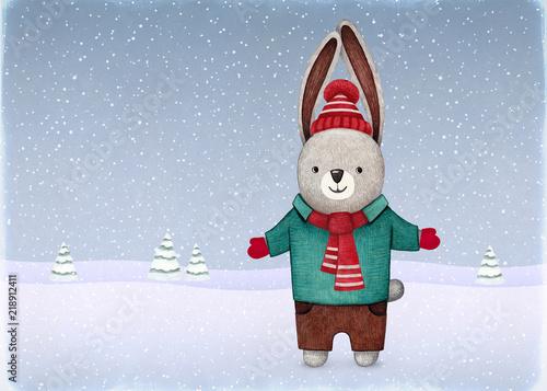akwarelowa-ilustracja-krolik-na-sniegu