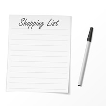 Shopping List Paper And Pen. Vector Illustration