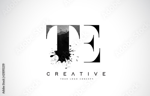 Photo  TE T E Letter Logo Design with Black Ink Watercolor Splash Spill Vector