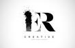 ER E R Letter Logo Design with Black Ink Watercolor Splash Spill Vector.