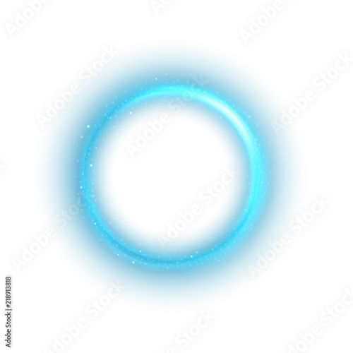 Photo  Round blue light twisted on white background, Suitable for product advertising, product design, and other