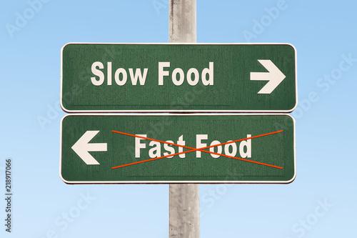 Fotografie, Obraz  Schild 325 - Slow Food