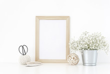 Wood Frame Mockup A4 In Interior. Tin Can With Bouquet Of White Flowers . Frame Mock Up Poster Or Photo Frame For Bloggers, Social Media, Lettering, Art And Design. Background.