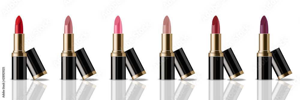 Fototapety, obrazy: Lipstick set Vector realistic. Product packaging mock up. colorful collection templates