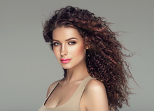 Beautiful Hair Long Curly Hairstyle Woman With Beauty Makeup Female Model Portrait