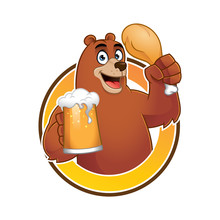 Funny Bear Eating And Drink Ma...