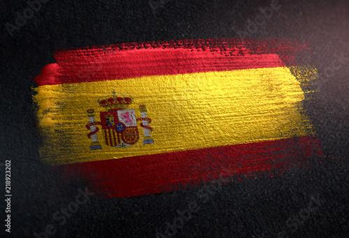 Spain Flag Made of Metallic Brush Paint on Grunge Dark Wall Canvas Print