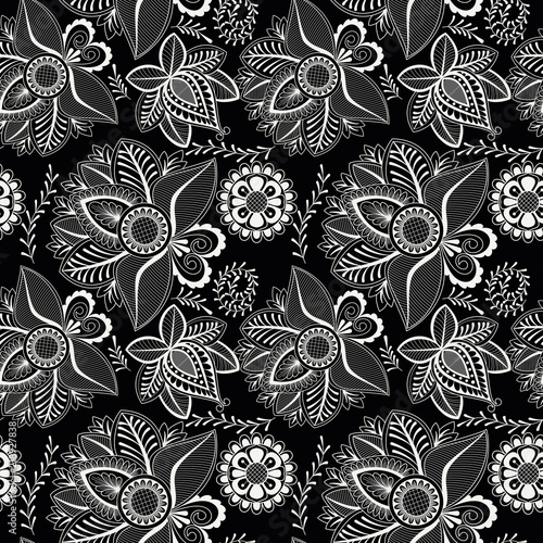 Black and white seamless pattern with floral element henna style. Textile, background, wrapper, packing.