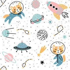 Cosmic seamless pattern with cute foxes