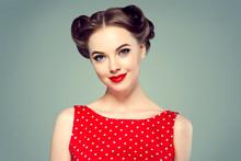 Pinup Woman Beauty Portrait Vintage Retro Girl Model In Polka Dot Dress