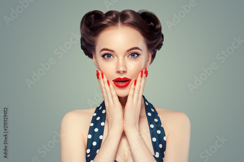 Fototapeta Pinup woman beauty portrait vintage retro girl model in polka dot dress