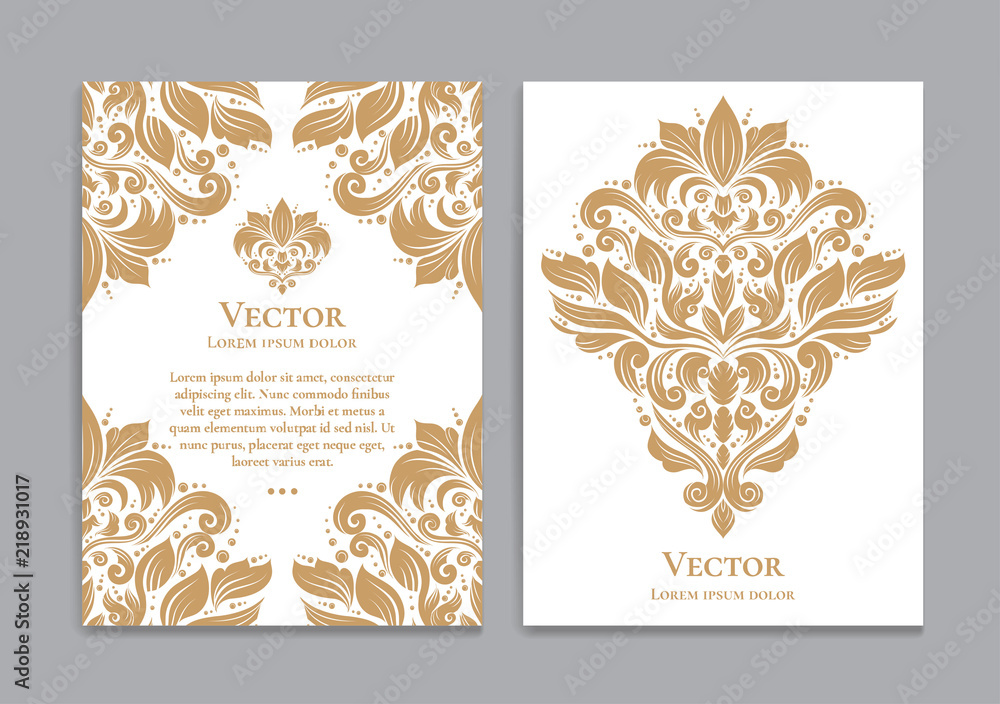 Fototapeta Gold and white vintage greeting card. Luxury vector ornament template. Great for invitation, flyer, menu, brochure, postcard, background, wallpaper, decoration, packaging or any desired idea