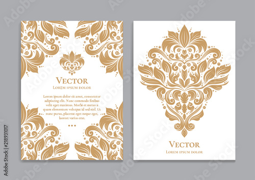Fototapeta Gold and white vintage greeting card. Luxury vector ornament template. Great for invitation, flyer, menu, brochure, postcard, background, wallpaper, decoration, packaging or any desired idea obraz