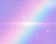 Galaxy Fantasy Background And Pastel Color.The Unicorn In Pastel Sky With Rainbow. Pastel Clouds And Sky With Bokeh.