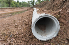 Concrete Drainage Pipe Row On ...