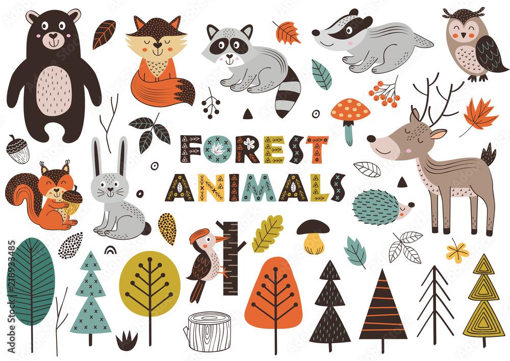 Fototapeta forest animals and plants in Scandinavian style -  vector illustration, eps