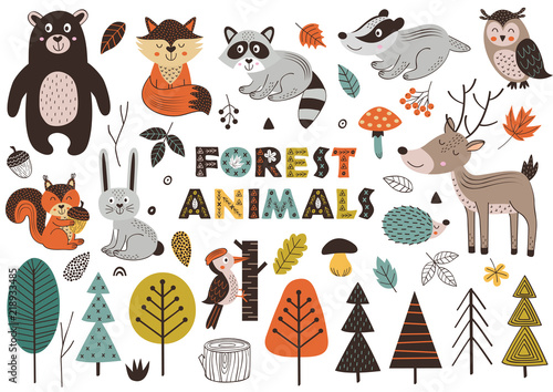 Obraz forest animals and plants in Scandinavian style -  vector illustration, eps - fototapety do salonu