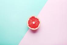 Ripe Grapefruit Slice On Color...
