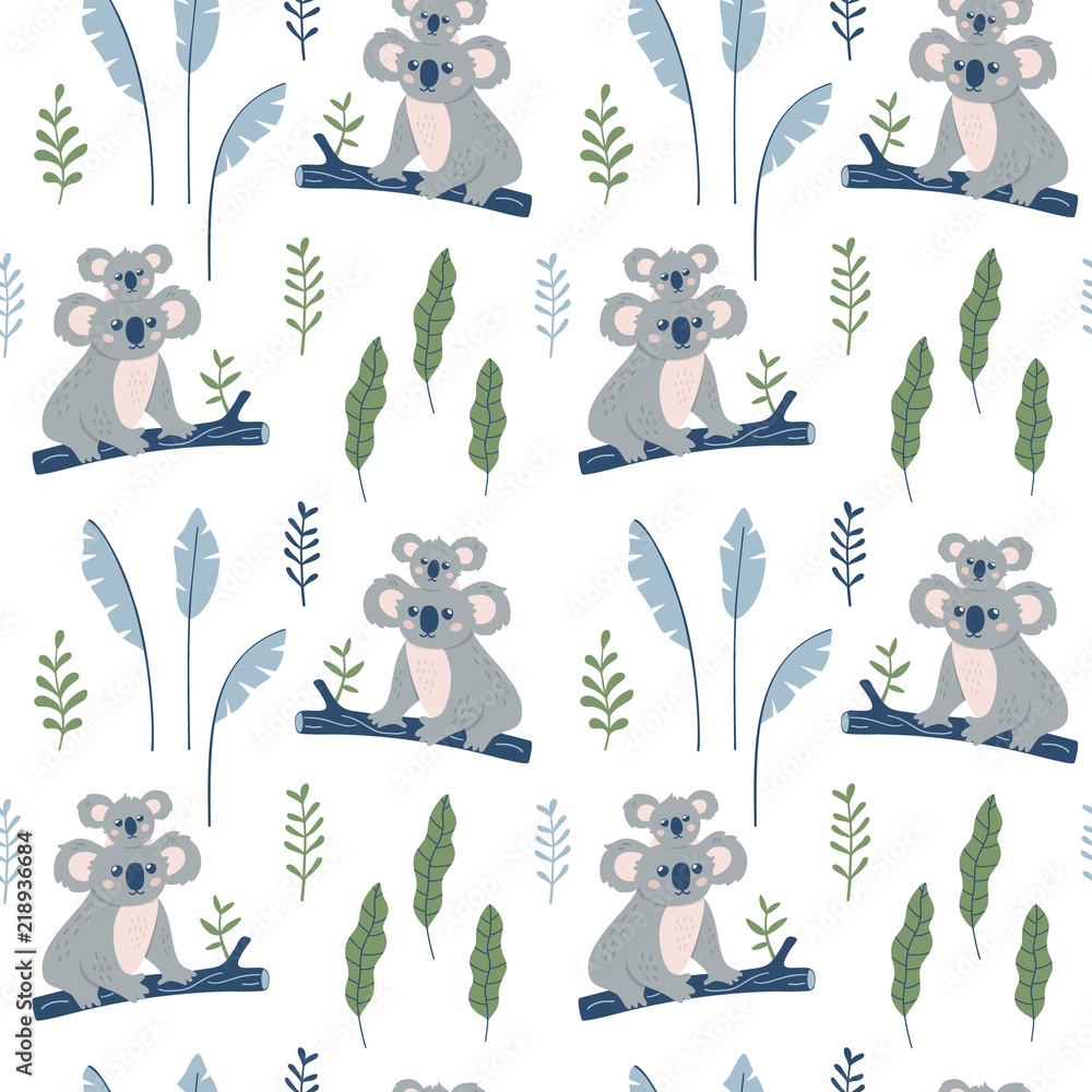 Obraz na plátně Hand drawn seamless pattern with Koala mother and Koala child