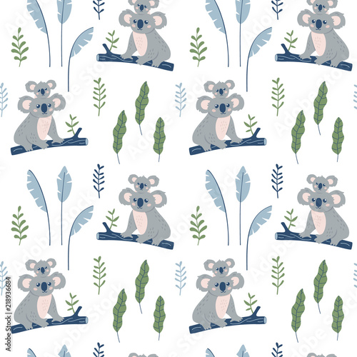 Valokuva  Hand drawn seamless pattern with Koala mother and Koala child