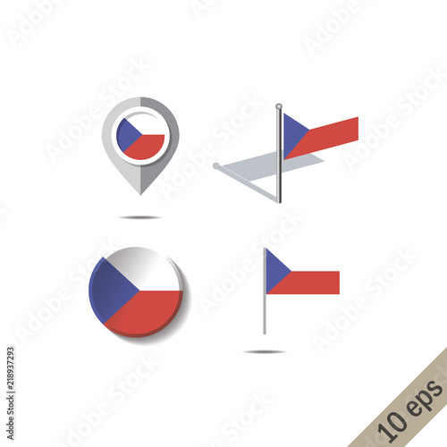 Map pins with flag of CZECH REPUPLIC - vector illustration