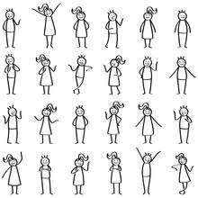 Strichmännchen Set, Stichfiguren Stehen Und Reden, Unterhalten Sich, Gestikulieren