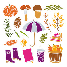 Cute Autumn Objects And Elements On White Background. Seasonal Hygge Autumn Illustrations