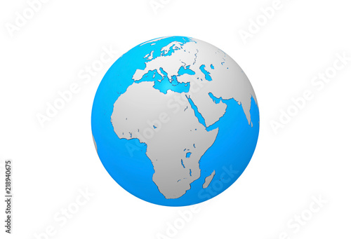 Earth Globe Map African And European Continent 3d Illustration