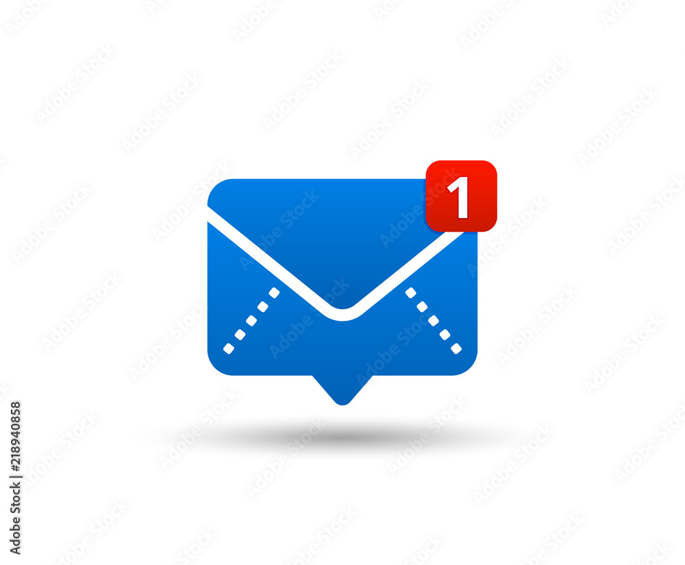 Fototapeta New message icon with notification. Envelope pointer with incoming message. Social media chat communication. New e-mail. Vector illustration