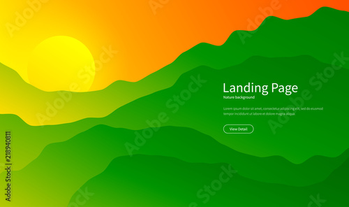 In de dag Groene Mountain landscape. Majestic mountains background. Panorama view. Summer sunset in the hills. Hiking tourism. Green forest. Landing page concept. Vector