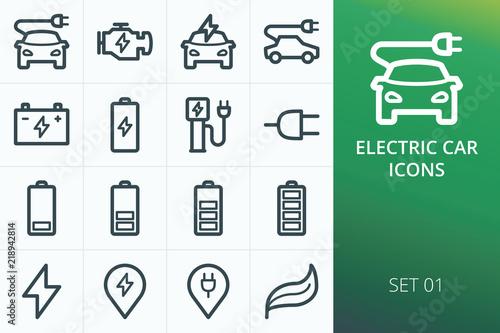 Electric car icons set Fototapete